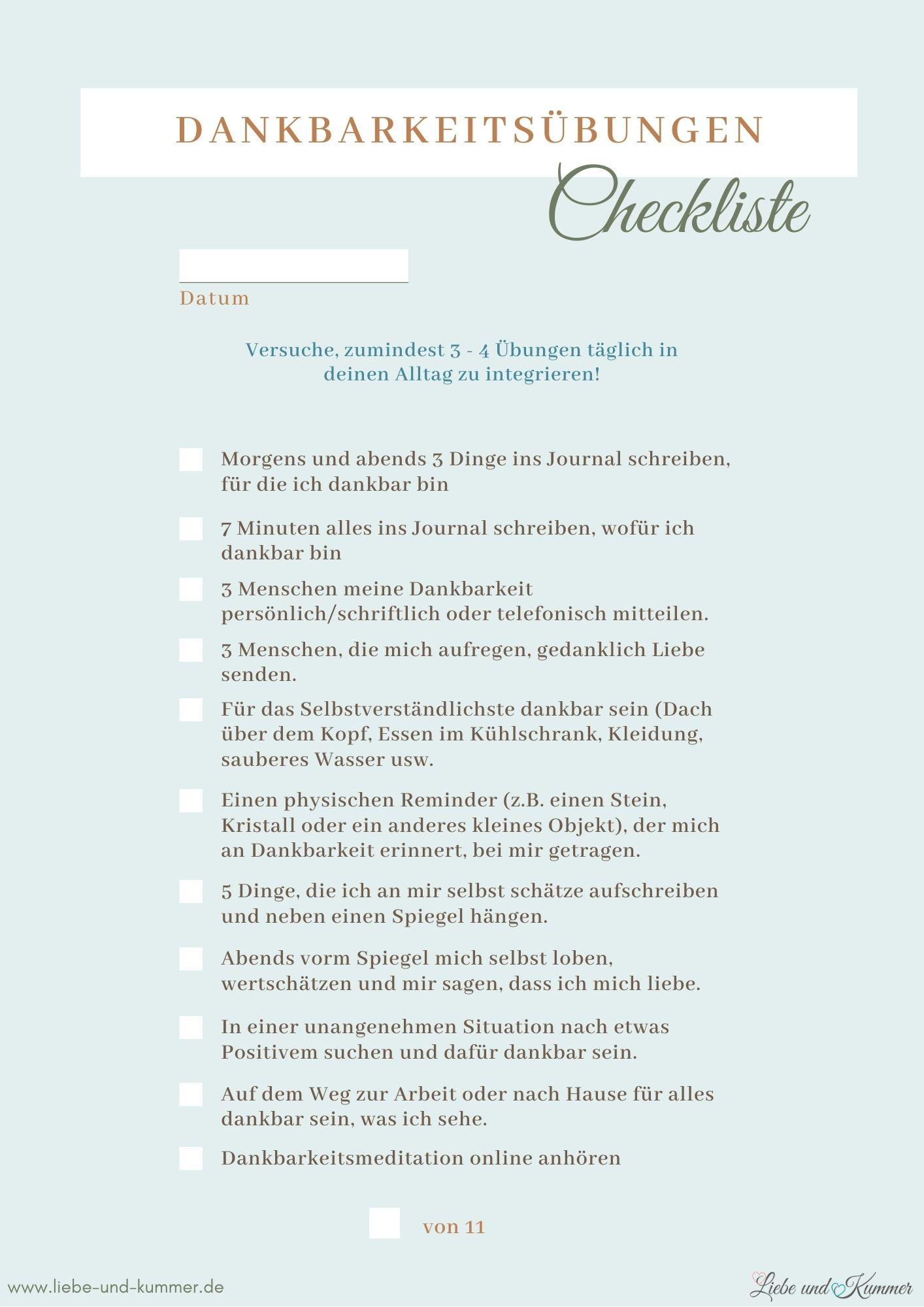 Dankbarkeitscheckliste